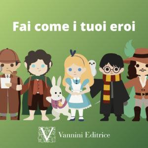 Personaggi dei classici mondiali ridisegnati a fumetto (Alice, Harry Potter, Frodo, i tre moschettieri...)